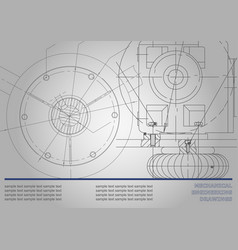 Mechanical engineering drawings on a gray vector