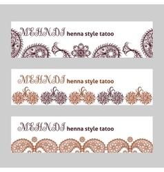 Mehndi web banners set vector image vector image