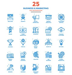 Modern Flat Line Color Icons Business and vector