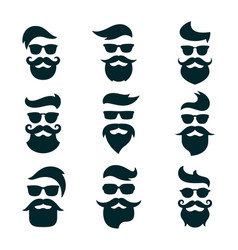 monochrome hipsters faces set with different vector image
