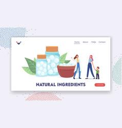 Natural ingredients landing page template herbal vector