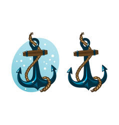 Nautical anchor with rope cartoon vector