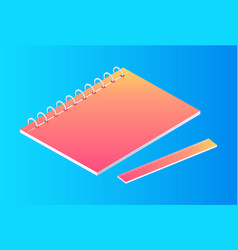 neon notebook with ruler isolated cartoon banner vector image