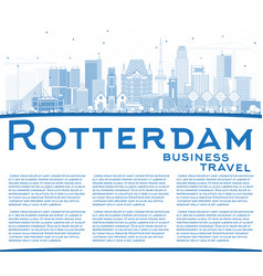 Outline rotterdam netherlands city skyline with vector