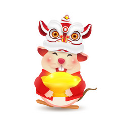 Rat character with chinese costume happy chinese vector