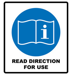 Read direction for use icon refer to instruction vector