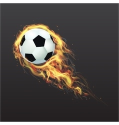 Realistic Soccer ball on fire vector image