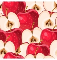 Red apples and apple slices seamless vector image