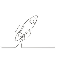 rocket one line drawing vector image