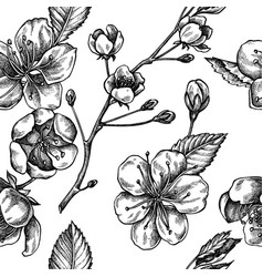 seamless pattern with black and white sakura vector image