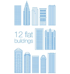 Set flat building city vector