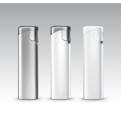 Set of blank white plastic metal lighters vector