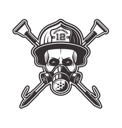 skull in respirator and firefighter helmet vector image