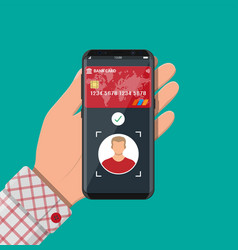 smartphone with payment app using face recognition vector image