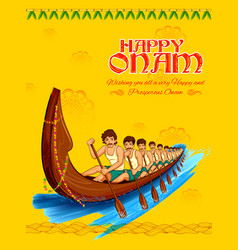 snakeboat race in onam celebration background for vector image
