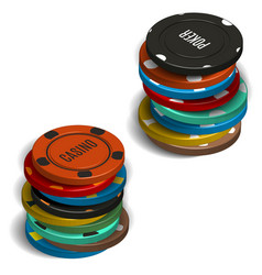 Stack of casino chips in 3d vector