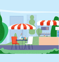 summer outdoor cafe empty table and armchair vector image
