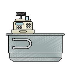 Supermarket cash machine with desk vector