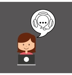 Support assitance concept girl with bubble speech vector