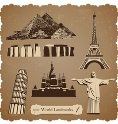 travel icon set1 sepia silhouettes vector image