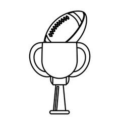trophy american football ball winner outline vector image