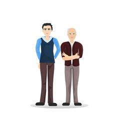 Two man young senior full length cartoon male vector