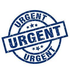 Urgent blue round grunge stamp vector