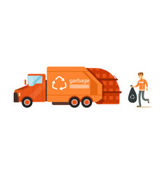 Worker loading rubbish bag into garbage collector vector