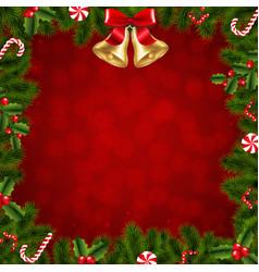 xmas border fir tree branches vector image