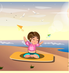 a woman practicing yoga on sea vector image vector image