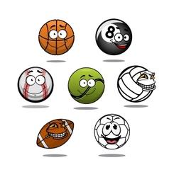 Cartoon funny balls characters vector image