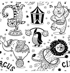 circus seamless pattern contour background vector image