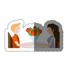 loving couple sitting date romance shadow vector image