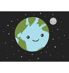 planet earth and the moon vector image vector image
