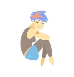 Sad teenage girl with tattoo feeling blue part of vector