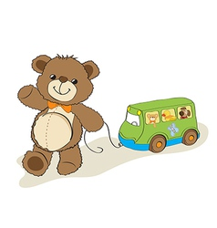 teddy bear toy pulling a bus vector image