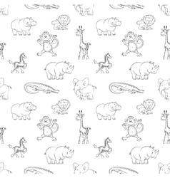Wild animals seamless pattern cartoon style vector image vector image