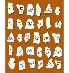 Alphabet letters on scraps of paper vector image