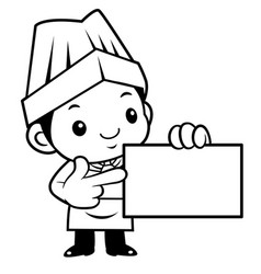 black and white funny cook mascot to give us a vector image vector image