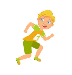 boy running in yellow shirt with number one a vector image vector image