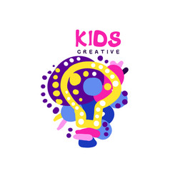 Kids creative colorful logo labels for kids club vector
