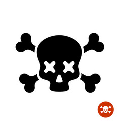scull and crossbones logo with x eyes vector image vector image
