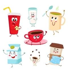Set of funny milk coffee tea cup glass mug vector image