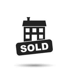 Sold house icon in flat style on white background vector