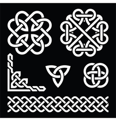 Celtic Irish knots braids and patterns in white vector image vector image