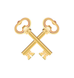 Crossed golden keys isolated on white background vector