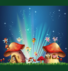 fairies flying over mushroom houses vector image