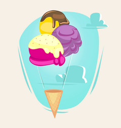 ice cream as balloon concept vector image