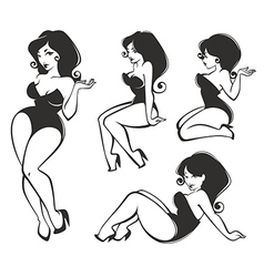 pinup collection vector image vector image