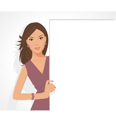 posing girl with sign vector image